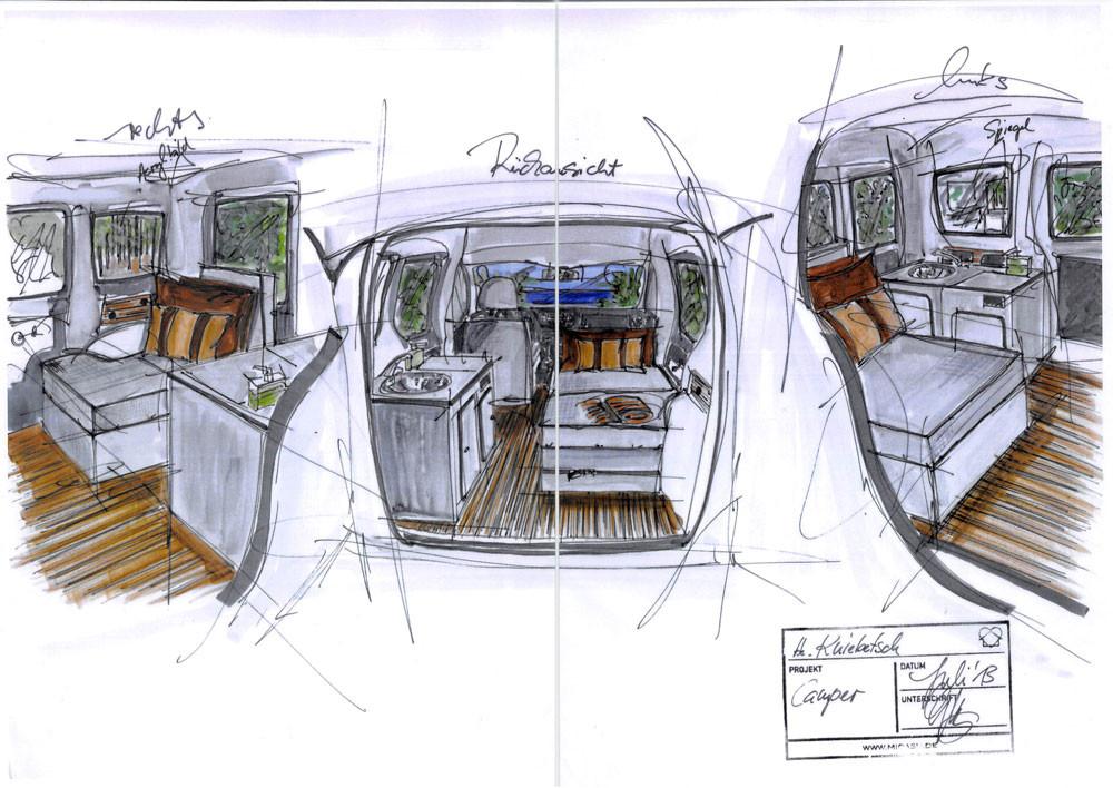 Skizzen der Ausbau-Idee: Kompletter, durchgehender Boden, Küche links, Sitzbank und Bett rechts